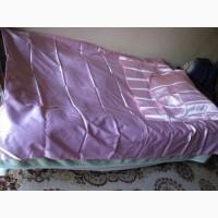 Постельный набор 2 покрывала на кровать и 2 на подушку, розовый атлас