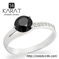 Золотое кольцо с черным и белыми бриллиантами 0, 97 карат карат ... 17 мм. Белое золото. Новое