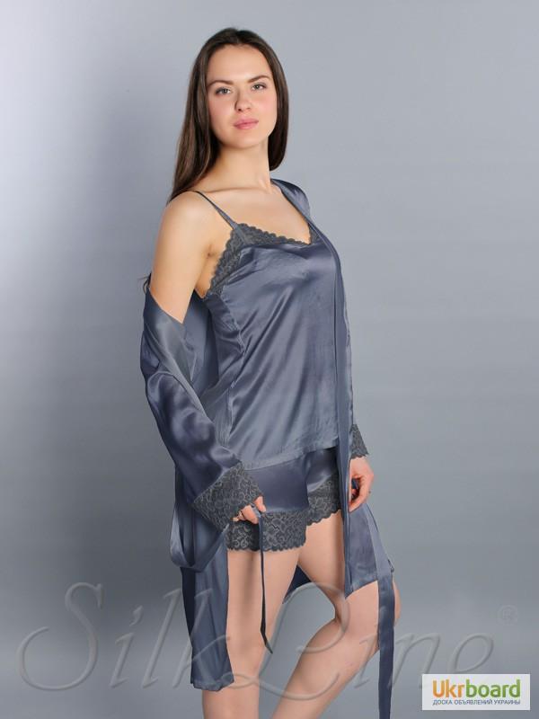 a3e8e7af631a Женская шелковая пижама SL-35 шорты и майка (цвет: серо-лавандовый)