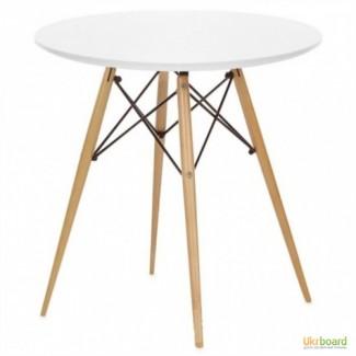 Стол обеденный Тауэр Вуд, круглый 80 см, квадратный 80*80 см. Белый лак, ножки-бук