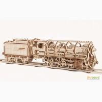 Механический-Деревянный 3D Конструктор - Локомотив с тендером UGEARS 460