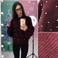 Трендовый свитерок с бусинками в расцветках