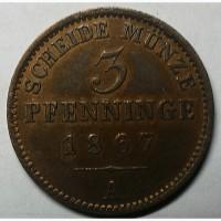 Германия 3 пфеннига 1867 год СОСТОЯНИЕ