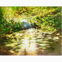 Картина 40*50 масло холст пейзаж *Водопад* ручная работа Подарок маме жене мужу бабушке