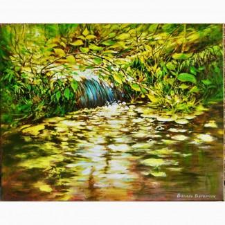 Картина 40*50 масло акрил холст пейзаж *Водопад* ручная работа Живопись Авторская Художник
