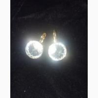 Серьги белый прозрачный кристалл swarovski модные 2019