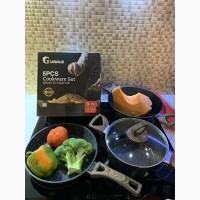 Набор кастрюль и сковорода c гранитным антипригарным покрытием 5 предметов