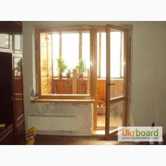 Деревянные балконные блоки, балконная дверь, выход на балкон