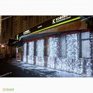 Купить светодиодную гирлянду дождь 2х3 метра, светодиодный занавес