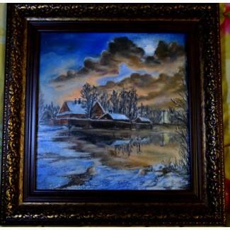 Картина автора Зимний вечер-пастель, 27х25