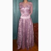 Выпускное, вечернее длинное платье с корсетом и ручной вышивкой
