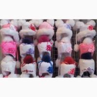 Детские зимние шапки меховой бубон для девочек 1-4 года- S239