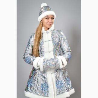 Новогодний шикарный карнавальный костюм Снегурочки, размеры 42-48