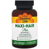 Витамины для волос Country Life, Maxi Hair Plus, 5, 000 мкг
