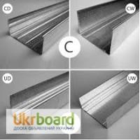 Профиль CD, UD, CW, UW толщина 0, 4-0, 45-0, 5мм, длина 3-4 метра