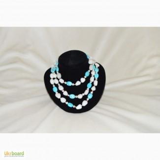 Ожерелье из бирюзы, кохалонга и жемчуга
