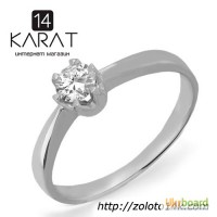 Золотое кольцо с бриллиантом 0, 20 карат. Белое золото. НОВОЕ (Код: 13051)