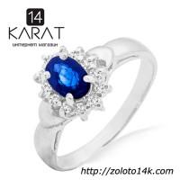 Золотое кольцо с сапфиром и бриллиантами 0, 16 карат ...