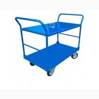 Ручная платформенная тележка с двумя бортами +полка, Платформовий візок, візок
