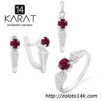 Серебряный набор с натуральным рубином 2, 40 карат. Кольцо, серьги и кулон. НОВЫЕ Код: 1028