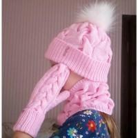 Вязаные вещи ручной работы на заказ (комплект для девочки - шапочка, снуд, варежки)