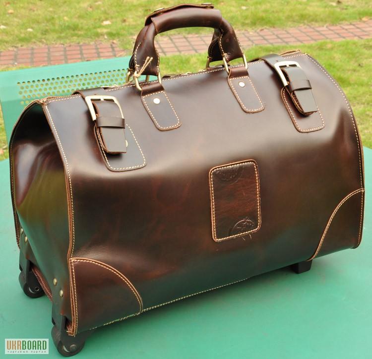 e14edd0d4836 Продается большая дорожная кожаная сумка с выдвижной металлической  тележкой, винтаж