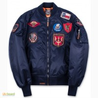 Top Gun MA-1 Nylon Bomber Jacket with Patches (синій)