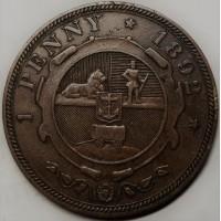 ЮАР, пенни 1892 год СОСТОЯНИЕ!!!!!!!! тираж 83 000 РЕДКАЯ