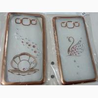 Чехол с камнями прозрачный силиконовый Samsung A5 2015 A500