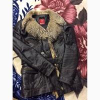 Стильная кожанная куртка с натуральным мехом