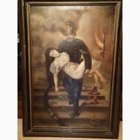 Срочно продам антикварную картину Пожарник ( Конец 19 века. ) Торг, уместен