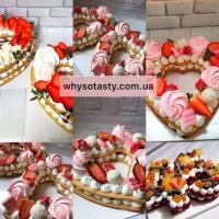 Медовая цифра торт на заказ Киев, торт цифра заказать, торт буква Киев, торт сердце