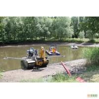 Очистка озер от ила мини земснарядами и экскаватором-амфибией KAISER, TRUXOR