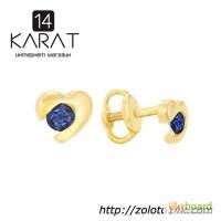 Золотые серьги сердце с сапфирами 0, 30 карат. Желтое золото. НОВЫЕ (Код: 15090)