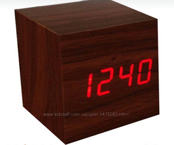 Фото 3. Настольные часы из дерева Куб Часы - будильник ДЕРЕВЯННЫЙ КУБ с термометром Подбор