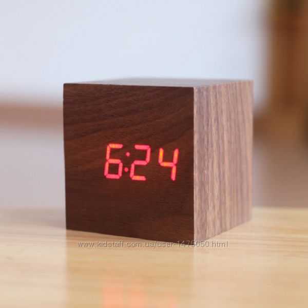 Фото 9. Настольные часы из дерева Куб Часы - будильник ДЕРЕВЯННЫЙ КУБ с термометром Подбор