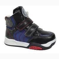 Демисезонные ботинки для мальчиков Солнце арт.PT85-1A black c 21-26 р