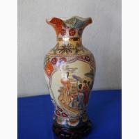"""Винтажная интерьерная Японская ваза для цветов в стиле """"Satsuma"""""""