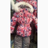 Детские зимние комбинезоны- тройка для девочек 1-5 лет