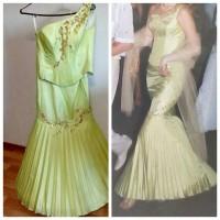 Вечернее платье, годе, салатовое