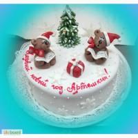 Новогоднее оформление заказных тортов