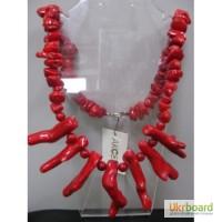 Бусы - Ожерелье из коралла красного натурального с длинными кораллами