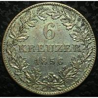 Франкфурт 6 крейцеров 1856 год СЕРЕБРО!!!!!! РЕДКАЯ!!!!!! В СОХРАНЕ