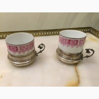 Антикварные серебряные чашечки для кофе с фарфоровыми вставками от Лимож