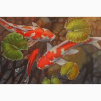 Копия картины Терри Жилецки Рыбки кои
