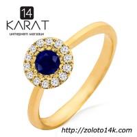 Золотое кольцо с сапфиром и бриллиантами 0, 10 карат. Желтое золото. НОВОЕ (Код: 13332)