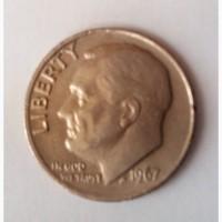 Монета Соединённые Штаты Америки 10 центов 1967