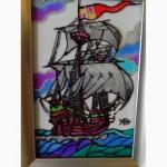 Витражная картина «Парусник в океане. Каракка »