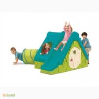 Детский игровой домик с горкой и туннелем пластиковый
