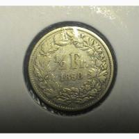 Швейцария 1/2 франка 1898 год СЕРЕБРО ОРИГИНАЛ